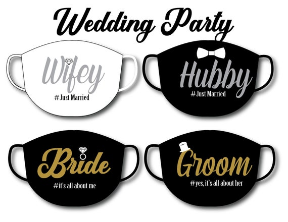 SET-Bride & Groom, Wifey, Hubby Face Mask | Washable Luxe Satin Mask | Reusable  for Adult,  Women, Men | Handmade in USA