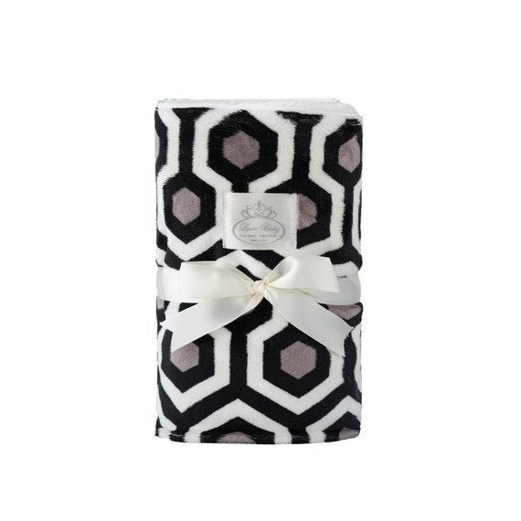 Plush Velboa Luxe Baby Blanket - Modern -charcoal Grey, Baby Blanket, Baby Boy Blanket, Baby Girl Blanket, Baby Gift, Baby shower gift