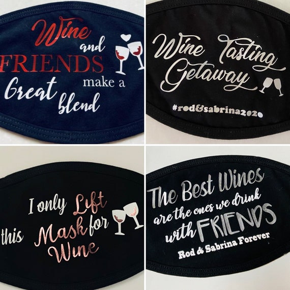 Wine Aficionados Soft cotton mask with pocket for filter | Mask for Wine Tasting|Fun Designs perfect for all occasions, add you Destination