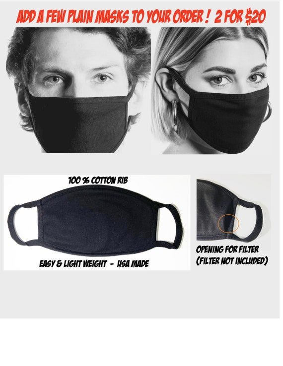 2 PC -BLACK-Light weight-Face Mask | Washable Cotton Face Mask | Pocket for filer | Reusable Mask for Adult, Men, Women | Handmade in USA