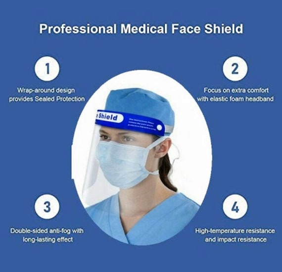 Safety Shield guard CLEAR Face protector | Work Industry Dental Anti-Fog Headband reusable | Reusable Mask for Adult, Men, Women |