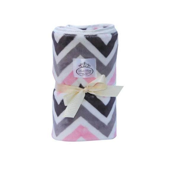 Plush Velboa Luxe Baby Blanket Chevron - Pink-charcoal-silver Grey, Baby Blanket, Baby Boy Blanket, Baby Girl Blanket, Baby Gift