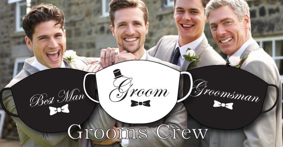 GROOM, Best Man, Groomsman Face Covers | Washable |Filter Pocket | Reusable Mask for Adult, | Handmade in USA