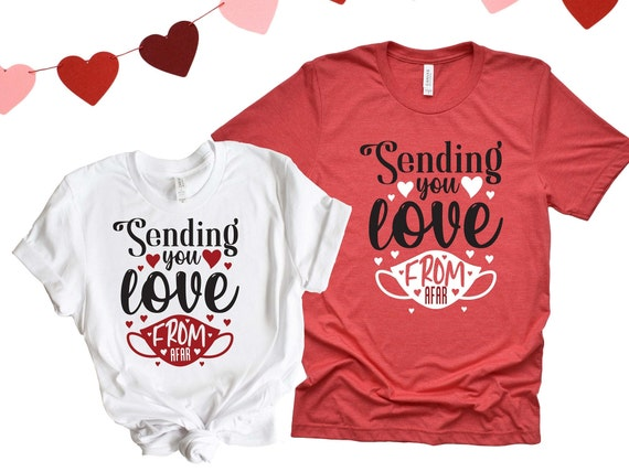 Sending You Love From Afar Streetwear Unisex Printed T shirt – Mens and Womens Tee – Red & Black Couples Graphic Shirts – Valentines Gift