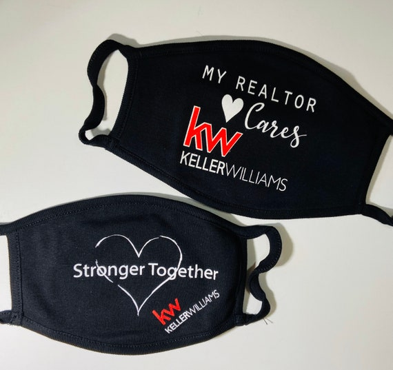 REALTOR Keller Williams Face Masks, Because We Care design,  Washable Soft Cotton Face Mask, Reusable and Reversible Adult Face Mask
