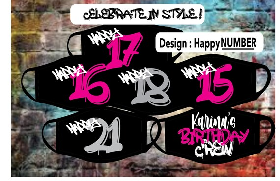 Happy 18th Birthday mask with mural like font with matching birthday crew mask ,  Custom mask to any birthday age | Revrsible