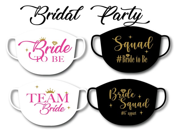 BRIDE To Be, Team Bride, Bride Squad | Washable Cotton Face Mask | Reusable Mask for Adult,  Women,Teens | Handmade in USA