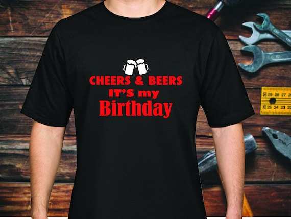 CHEERS & BEERS B Day Shirt  | Washable Cotton Face Mask | Reusable Mask for Men | Handmade in USA