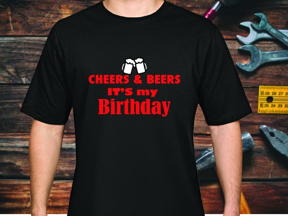 CHEERS & BEERS B Day Shirt    Washable Cotton Face Mask   Reusable Mask for Men   Handmade in USA