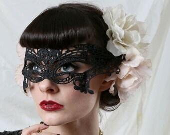 Black lace Masquerade Ball Mask.