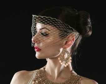 Gold masquerade veil, Venetian, bandeau mask.