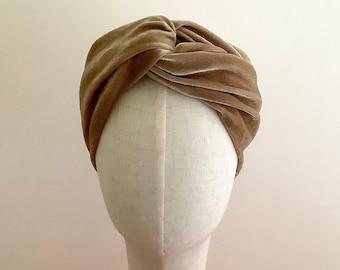 Velvet turban headband, Honey beige twist head wrap.