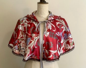 Red floral mini hooded cape, capelet.
