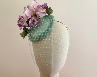 Pale green fascinator, green and pink orchid, mini cocktail hat.