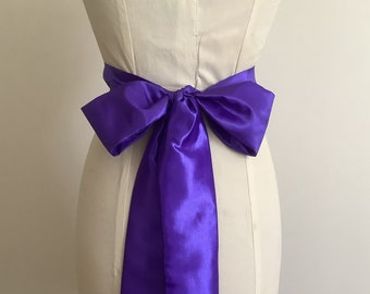 Purple taffeta plain bridal sash belt.