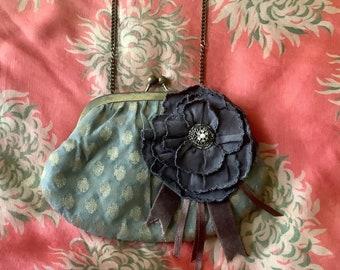 Grey blue, vintage evening bag.