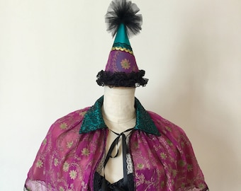 Circus cape and clown hat, vintage circus costume.