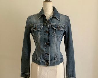 Vintage Blue Denim 90's Jacket, Warehouse, Corset Style, size 8 UK.
