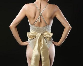 Gold taffeta plain bridal sash belt.