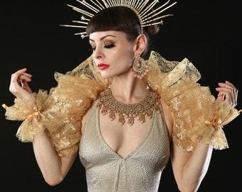 Gold lace Opera shrug.