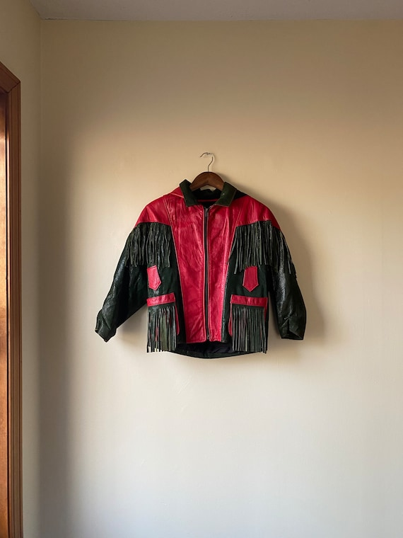 70s glam rock red leather jacket, small / medium (