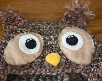 Custom Crochet Brown Owl Hat Beanie With Earflaps and Braids (Open Eyes) - Newborn to Adult Sizes