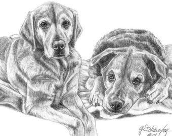 Custom Pet Portrait Custom Pet Portrait Dog Lover Gift Memorial Gift Art Dog Mom
