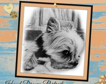 Custom Pet Portrait Hand Drawn Graphite Pencil Art Memorial Gift for Pet Owners or Loss of Dog from Your Photos
