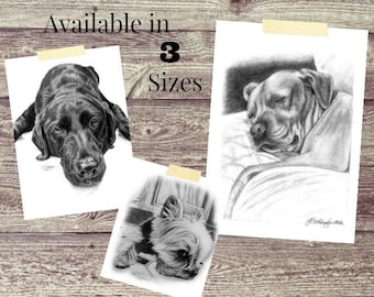 Pet Portrait/Fathers Day Gift/Pet Memorial/Dog Lover Gift/ Custom Pet Portrait/