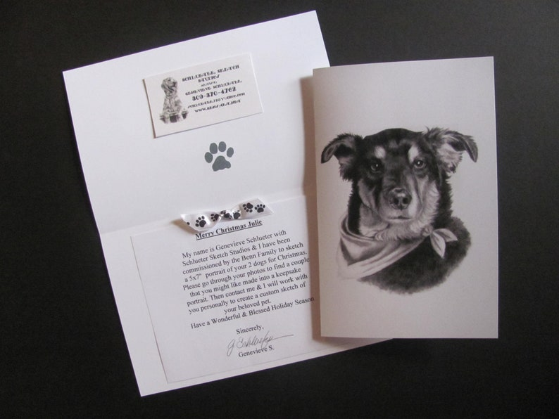 Custom Portrait Gift Certificate Card Gift Idea for Pet Owner for an 8x10  Sketch from Photo