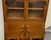 Antique solid oak display cabinet drop front secretary 34W16D28H74H Shipping is not free
