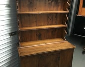 Early primitive pine step back pewter cabinet cupboard 40w17.5d9d25h66h Shipping is not free