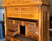 Rare Exqusite Biedermeier Birdseye Maple tall Secretary desk cabinet 41w22d72.5h Free shipping see description