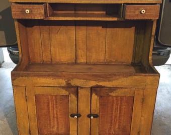 Primitive Grain Painted Dry Sink Original Mustard Paint 19d10d30h52h45w  Shipping Is Not Free