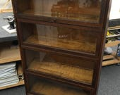 Antique Oak Barrister Bookcase c1881-1904 Four Stack 34x14x60h New England Furniture Shipping is not free