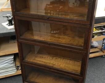 antique oak barrister bookcase c1881 1904 four stack 34x14x60h new england furniture shipping is not free - Barrister Bookshelves