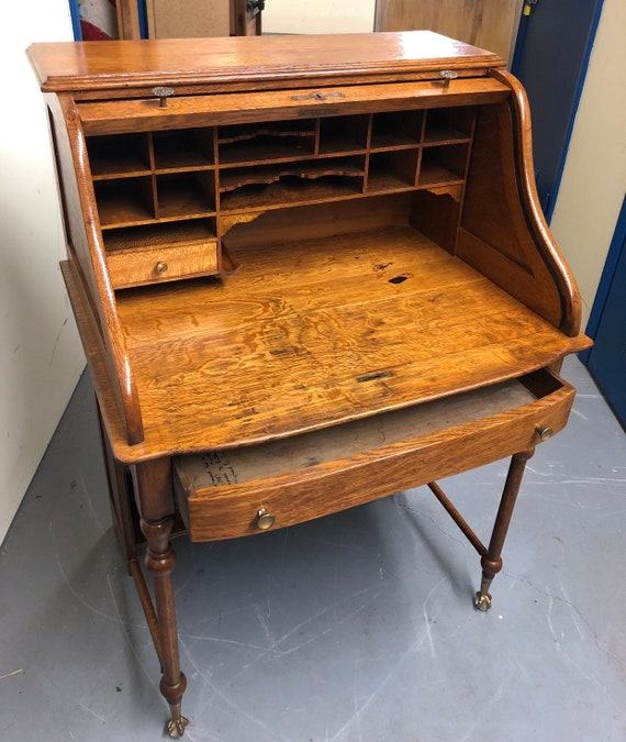 Antique Oak Rolltop Desk Smaller Size Ball And Claw Feet Etsy