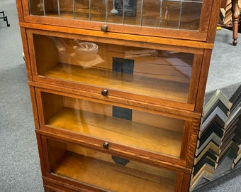 Antique Globe Warnicke art mission leaded glass solid oak barrister bookcase 34.5x63x11.5 Shipping is not free
