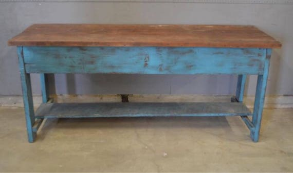 Vintage Big Texas Work Table In Blue Paint 28.5d25h36h84w