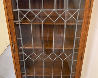 Antique wavy leaded glass solid oak bookcase three adjustable shelves 28w13d58h shipping is not free