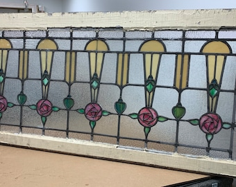 Antique victorian stained leaded glass window flowers 25x1.5x52.5 Shipping is not free