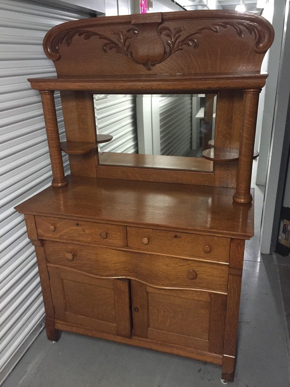 Antique Solid Oak Buffet Sideboard Cabinet Bevel Mirror