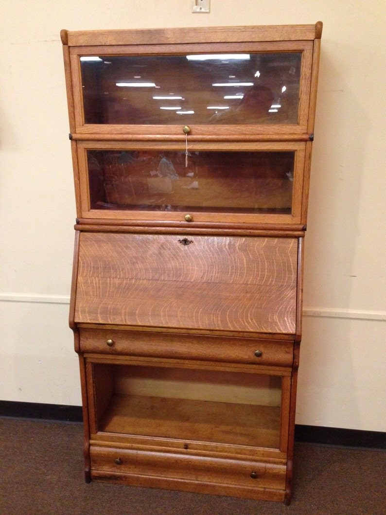 Antique Exquisite Oak Barrister Bookcase With Secretary 14d34w70h Shipping Is Not Free