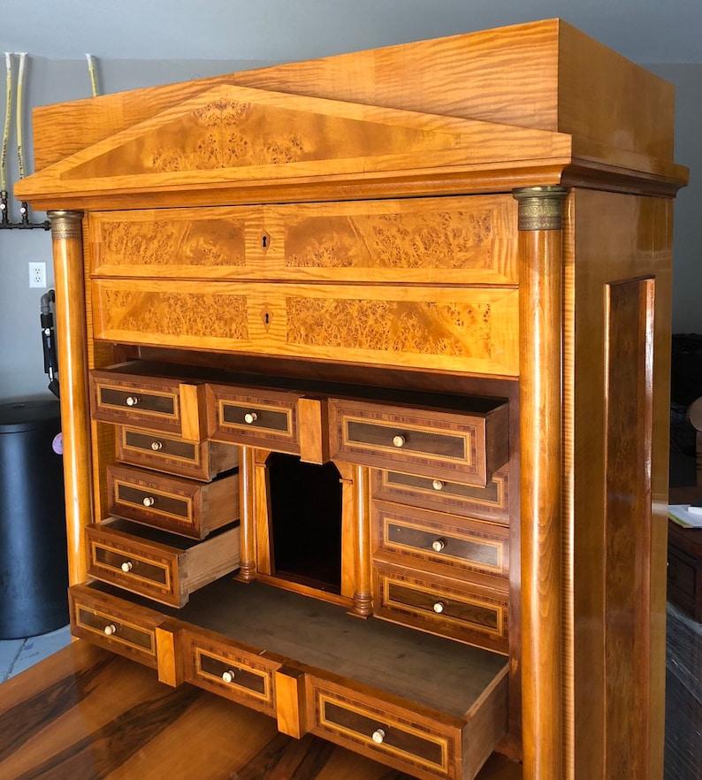 Antique Secretary Desk Etsy >> Rare Exqusite Biedermeier Birdseye Maple Secretary Desk Cabinet 41w22d72 5h Free Shipping See Description