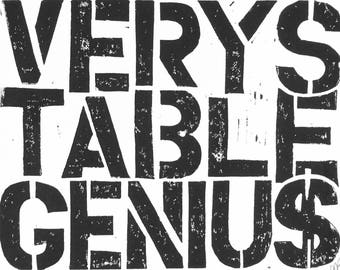 LINOCUT print - Very Stable Genius - Trump quote 8x10 letterpress