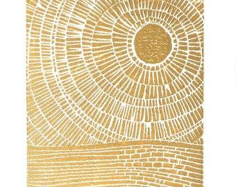 Sunset on the ocean - Hand-pressed linocut print - 8x10 Minimal textured poster- Metallic gold bronze - Ocean block print - Gold leaf