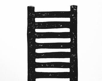 LINOCUT PRINT - ladder - 8x10 linoleum block print