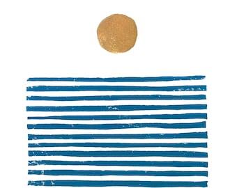 Mid century sunrise on the ocean - Gold and blue linocut print - 8x10 Minimal poster - Ocean block print