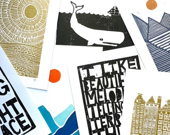 10 prints - Christmas gifts (8x10in) - Wholesale linocut and letterpress prints - (8x10 only) Wholesale bulk discount for vendors