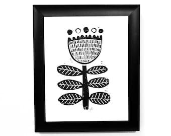 Sweet flower - Minimal scandinavian folk art flower print - 8x10 linocut print - Scandi poster
